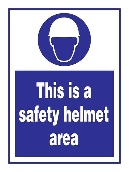 This Is A Safety Helmet Area: Påbudsskilt