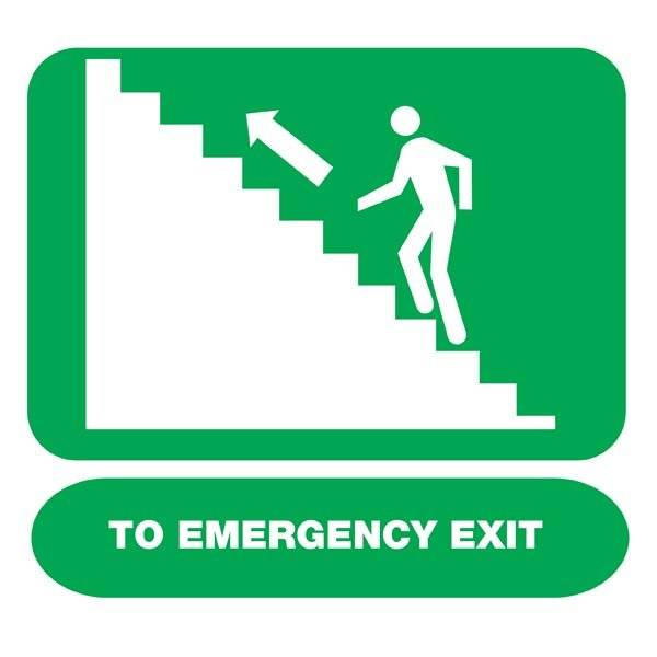 To Emergency Exit Upstairs Left Redningsskilt