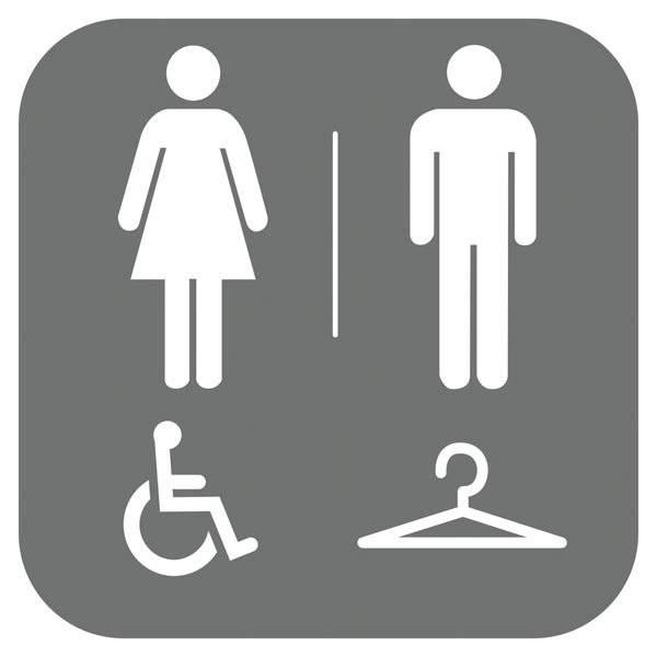 Dame mand Handicap Toilet Garderobe. Piktogram skilt