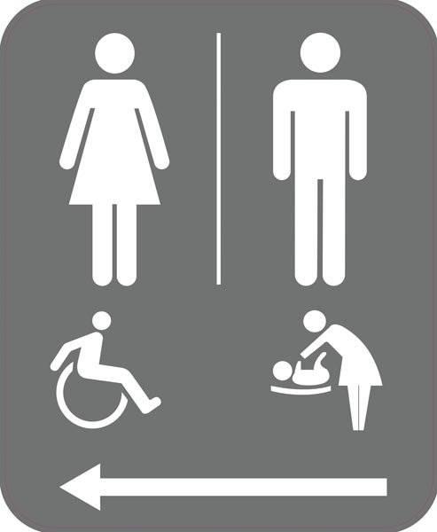 Toilet alle med pil. Piktogram skilt