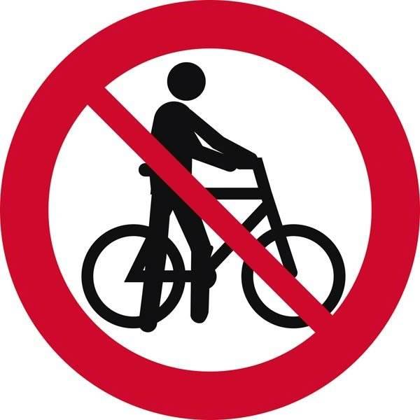 Trækning af cykel forbudt. Forbudsskilt