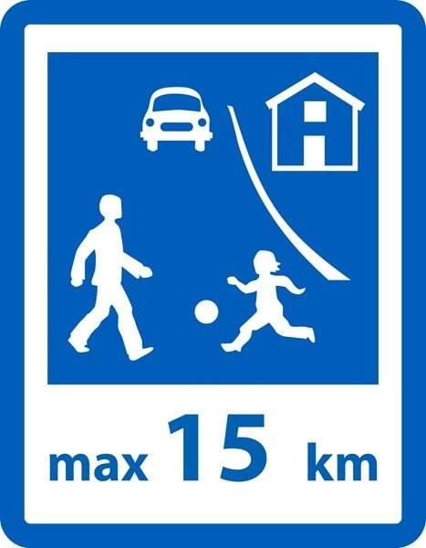 Trafik max 15 km. Legendebørnskilt