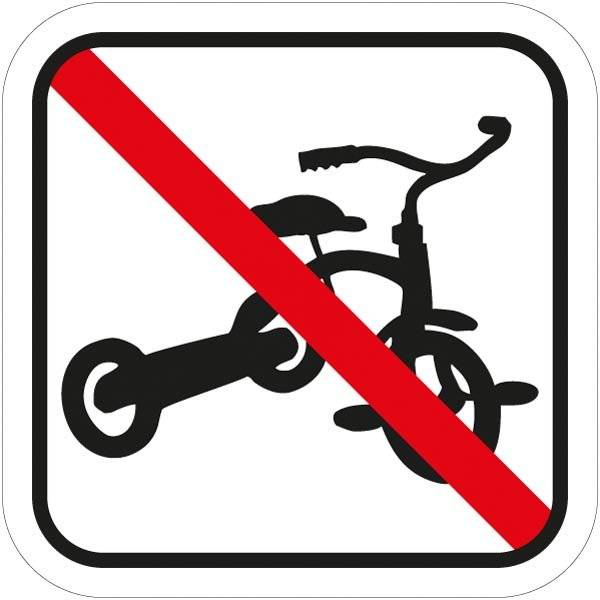 Tre hjulet cykel forbuds piktogram skilt