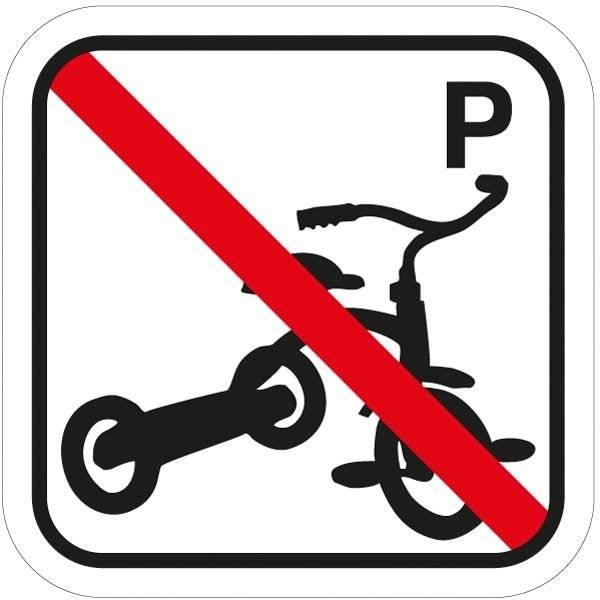 Tre hjulet cykel P forbuds piktogram skilt