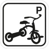 Tre hjulet cykel P piktogram skilt
