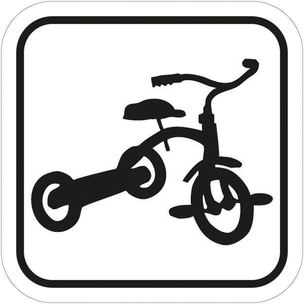 Tre hjulet cykel piktogram skilt