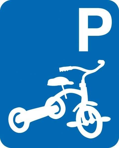 Tre hjulet cykel parkering Skilt