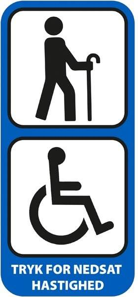 Tryk for nedsat hastighed Blå Piktogram