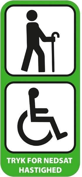 Tryk for langsom hastighed Grøn piktogram