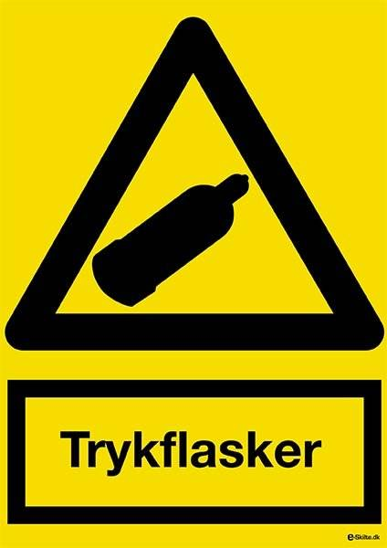 Trykflasker. Advarselsskilt