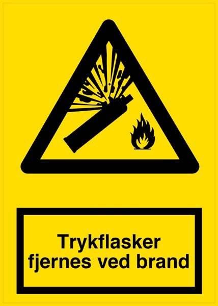 Trykflasker fjernes ved brand Advarselsskilt