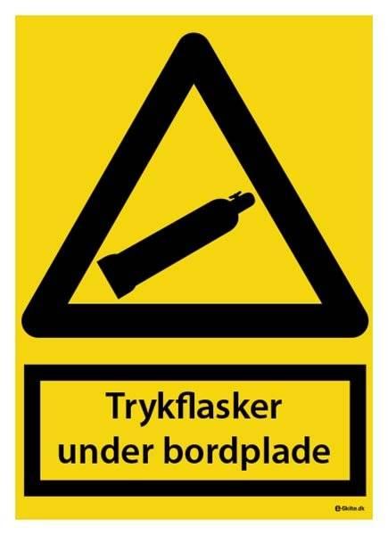Trykflasker under bordplade. Advarselsskilt