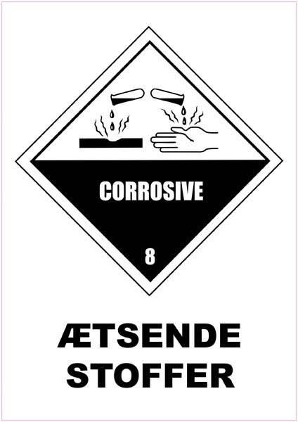 Ætsende stoffer Sikkerhedsskilt