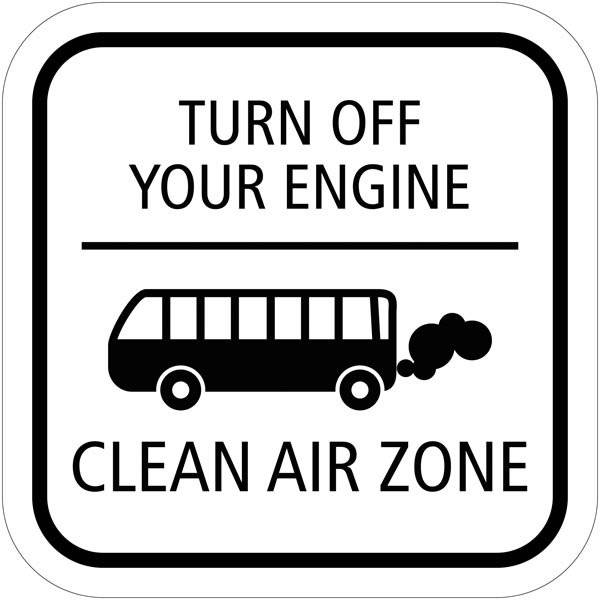 Turn off your engine Clean air Zone skilt