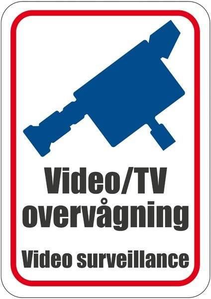 Video/TV overvågning. Video surveillance. Skilt