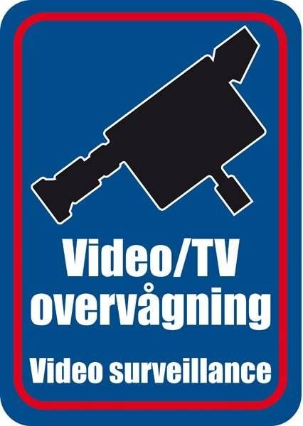 Video/TV overvågning. Video surveillance. Skilt