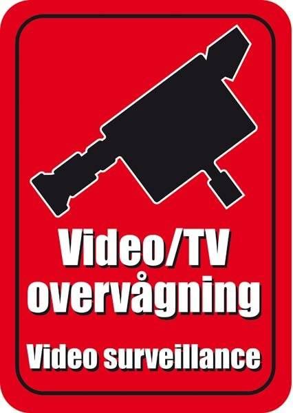 Video/TV overvågning. Video surveillance.Skilt