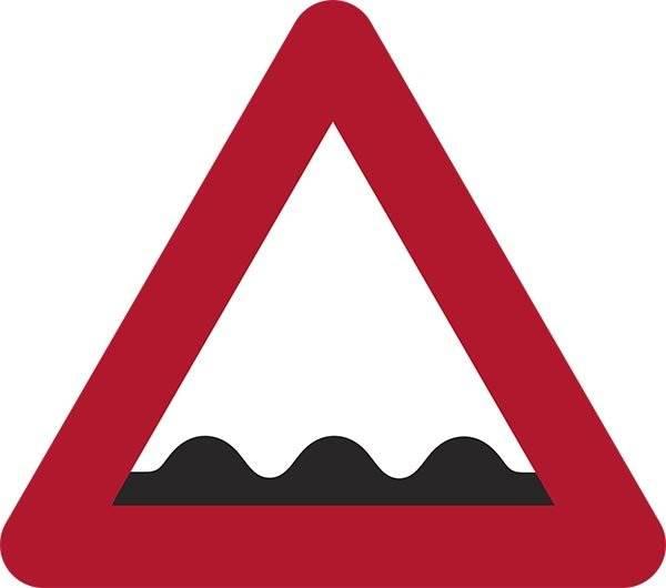 Ujævn vej 3 bump Advarselsskilt