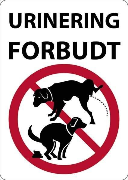 Urinering forbudt. Hundeskilt