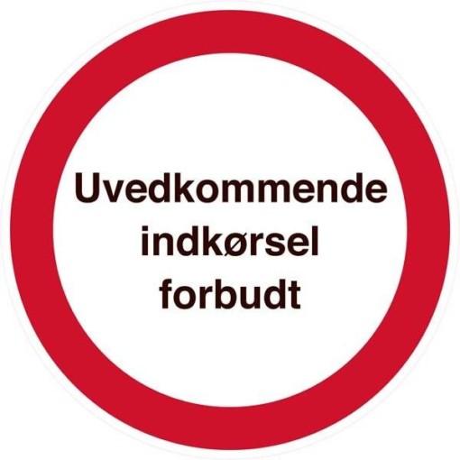 Uvedkommende indkørsel forbudt. Forbudsskilt