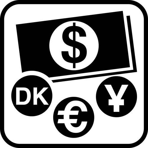 Valuta - piktogram skilt