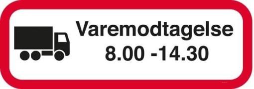 Varemodtagelse 8.00-14.30 Skilt