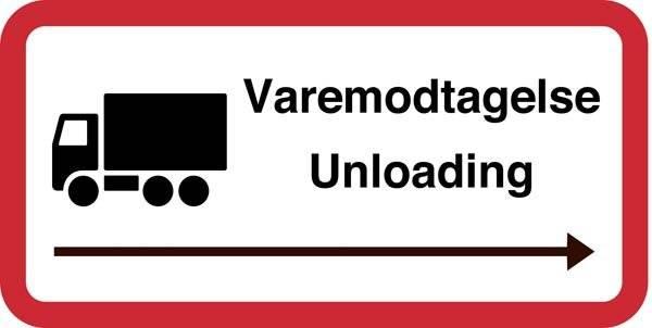 Varemodtagelse Unloading. Trafikskilt