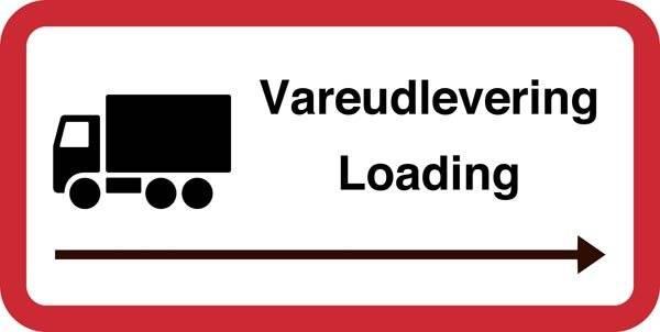 Vareudlevering Loading. Trafikskilt