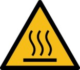 Varm overflade ISO_7010_W017. Advarselsskilt
