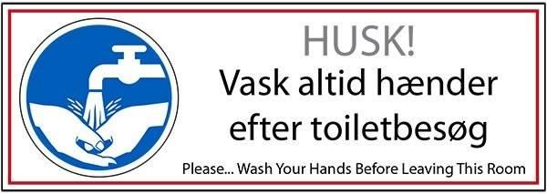 Vask altid hænder efter toiletbesøg. Påbudsskilt
