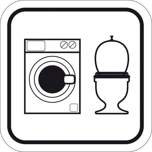 Vaskemaskine + WC. Piktogram skilt