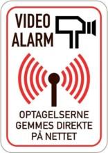 Video alarm Optagelser gemmes direkte på nettet. Skilt