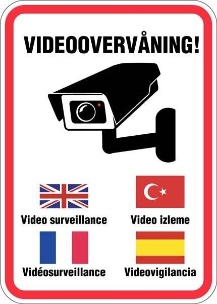 Videoovervågning internationalt. skilt