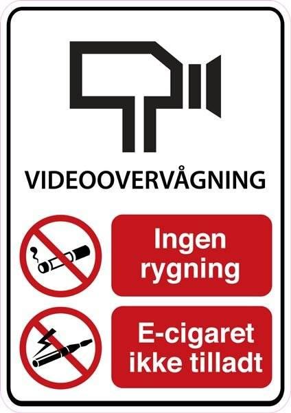 Videovervågning ikke ryger område. Rygeforbudsskilt