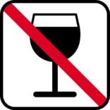 Vin forbudt - piktogram skilt