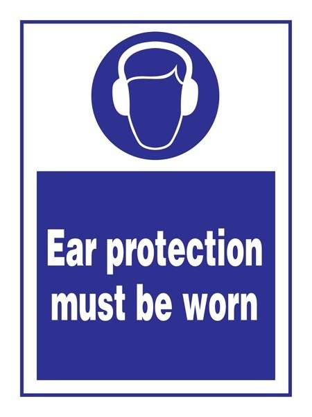 Wear Ear Protection: Påbudsskilt
