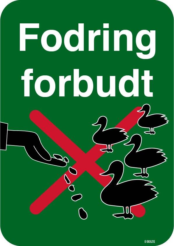 Fodring af ænder forbudt. Forbudsskilt