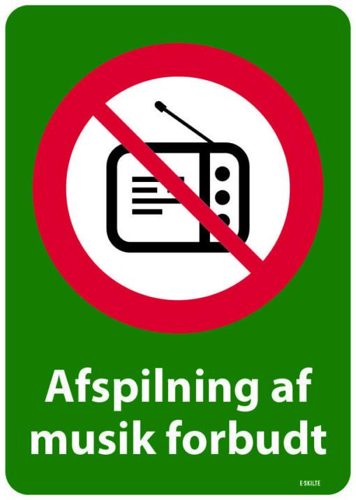 Afspilning af musik forbudt. Forbudsskilt
