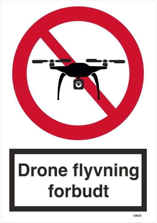 Drone flyvning forbudt. Forbudt skilt