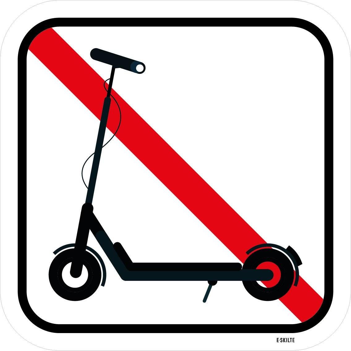 Løbehjul forbudt. Forbudsskilt