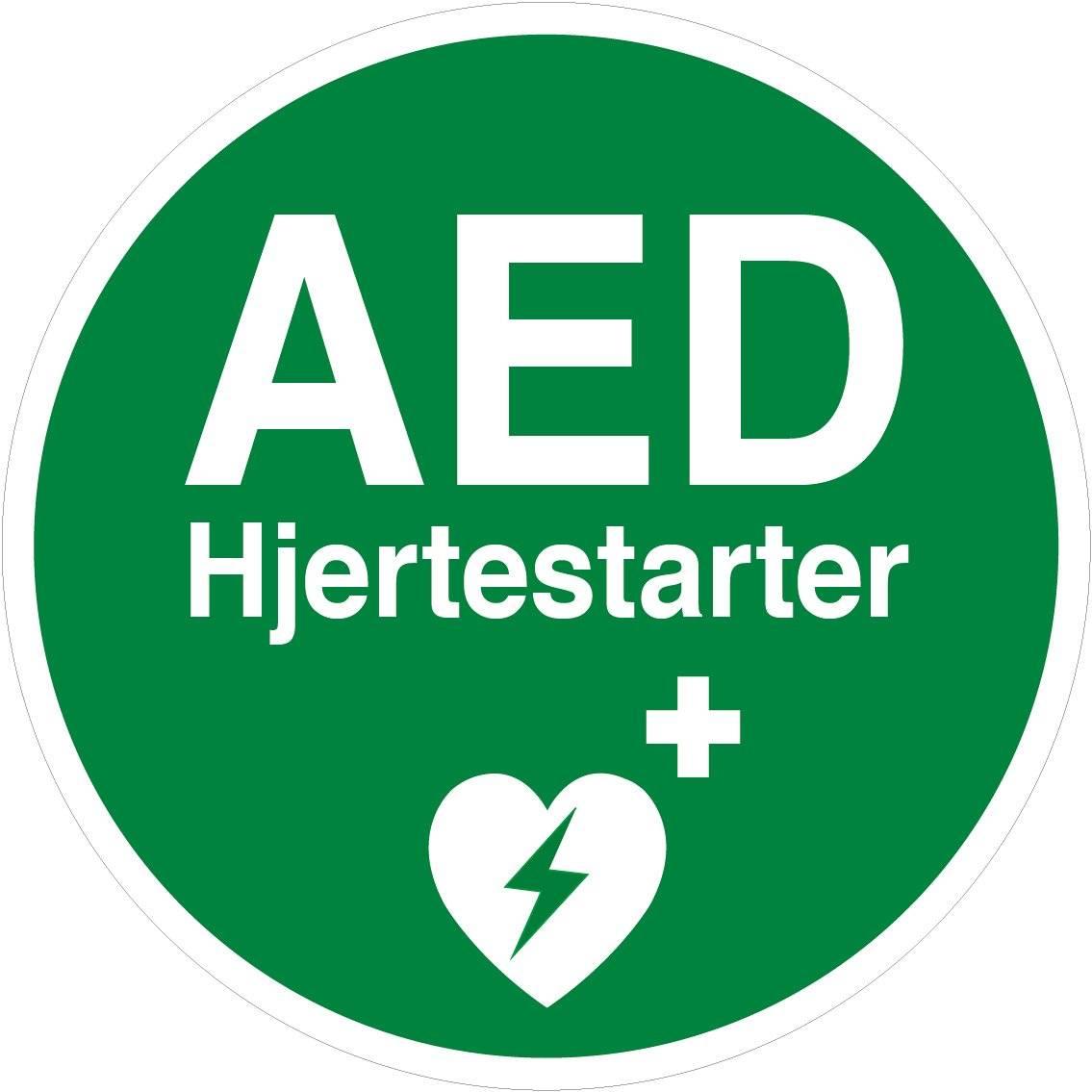 AED hjertestarter. Redningsskilt