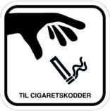 Til cigaretskodder. Rygeskilt