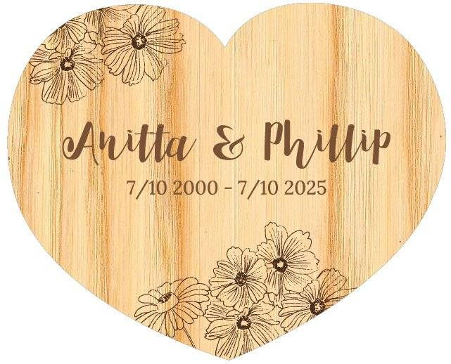 Bryllupshjerte skilt wood flowers