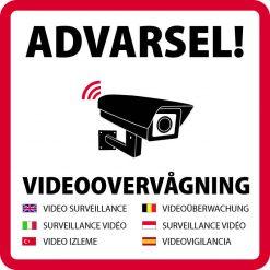 Advarsel! Videoovervågning 7 sprog skilt
