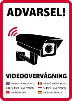 Advarsel! Videoovervågning på syv sprog skilt