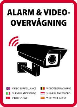 Alarm og videovervågning skilt på flere sprog