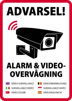 Advarsel! Alarm og videovervågning skilt på flere sprog