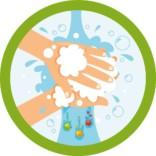 Vask hænder - børn - sæbe - bakterier skilt