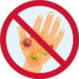Vask hænder - børn - bakterier forbud skilt