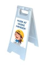 Gulvskilt - Husk at vaske hænder - børn